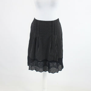 Black white polka dot embroidered 100% cotton ANN TAYLOR eyelet trim skirt 2P