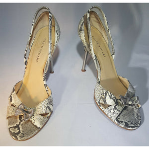 Beige and gray snake print leather COLIN STUART open toe metal high heel 8.5 8 1/2