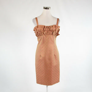 Khaki pink polka dot 100% silk KAY UNGER sleeveless sheath dress 6