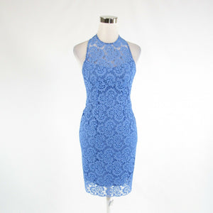 Blue black floral print lace ANTHROPOLOGIE NANETTE LEPORE sleeveless sun dress 0