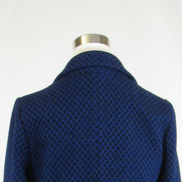 Dark blue black geometric tweed FUNKTIONAL double breasted 3/4 sleeve jacket L-Newish