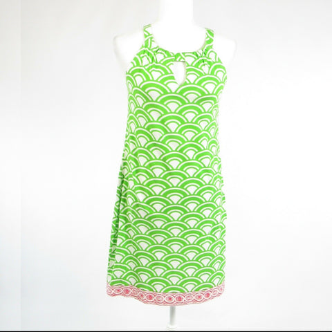 Bright green white geometric cotton blend BARBARA GERWIT sleeveless sun dress S