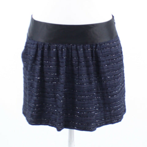 Navy blue w/ black shiny pinstripe MILLY full skirt 6