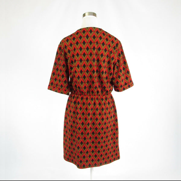 Bright orange brown diamond TRACY NEGOSHIAN stretch 1/2 sleeve A-line dress XL-Newish
