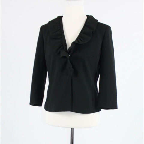Black snap front NEW YORK and COMPANY ruffled collar 3/4 sleeve jacket 6