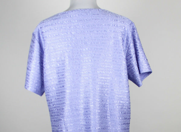 COLDWATER CREEK purple short sleeve scoop neck elastic smocked texture blouse L-Newish