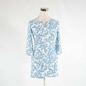White blue coral print cotton blend BARBARA GERWIT 3/4 sleeve tunic dress XS-Newish