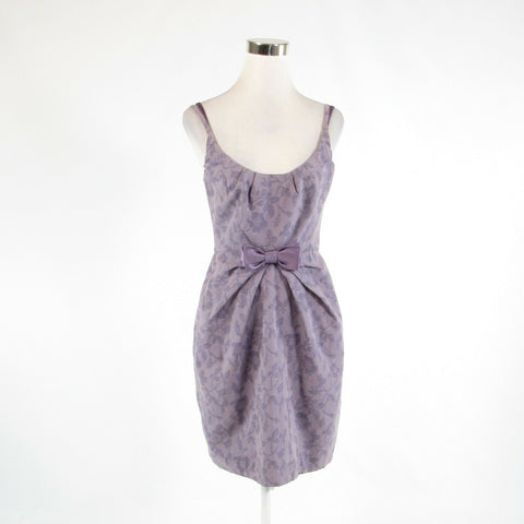 Lavender purple floral print cotton blend BARASCHI sheath dress 4