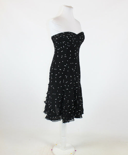 Black white polka dot 100% silk KAY UNGER strapless ruffled trim A-line dress 4