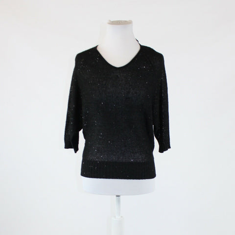 Black sequined ANN TAYLOR LOFT 3/4 sleeve ribbed trim v-neck sweater S