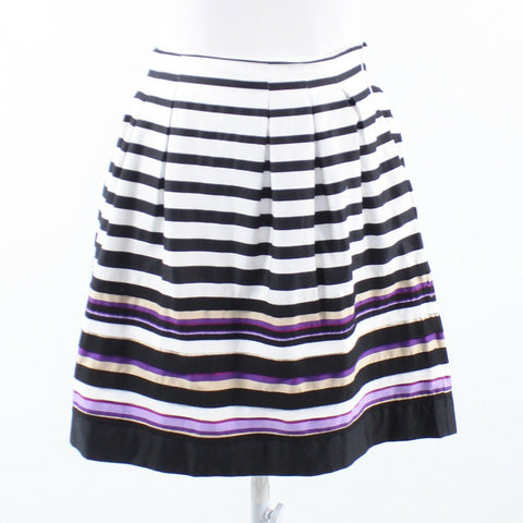 White black uneven striped WHITE HOUSE BLACK MARKET pleated skirt 00