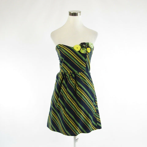 Navy blue yellow diagonal striped cotton JUDITH MARCH A-line dress S