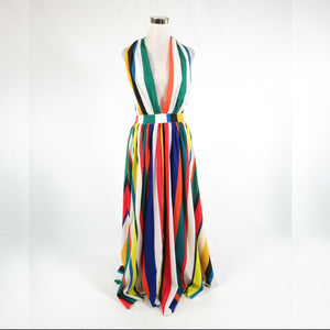 Multicolor white uneven striped BOSTON PROPER halter neck maxi dress 2 NWT