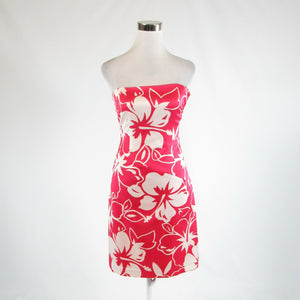 Red white floral print satin DAVID MEISTER sleeveless sheath dress 4
