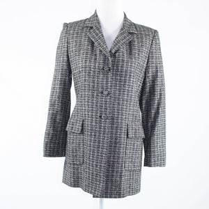 Black white plaid tweed KAY UNGER long sleeve coat 4-Newish