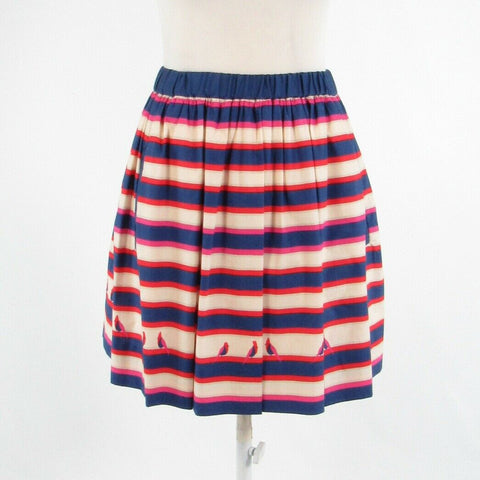 Dark blue red uneven striped cotton blend MARC BY MARC JACOBS A-line skirt XS
