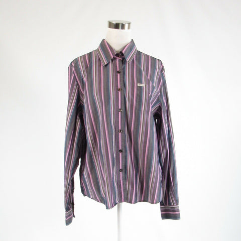 Cool brown purple uneven striped 100% cotton FACONNABLE button down blouse XL