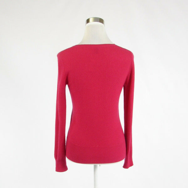 Fuchsia pink 100% cashmere PRIVE CASHMERE long sleeve crewneck sweater S-Newish