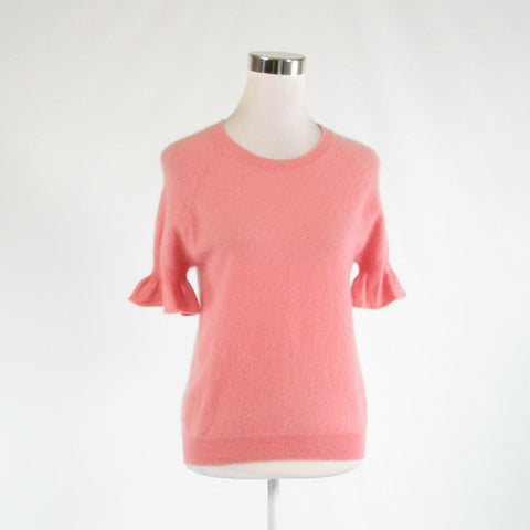 Pink 100% cashmere MINNIE ROSE bell sleeve crewneck sweater S