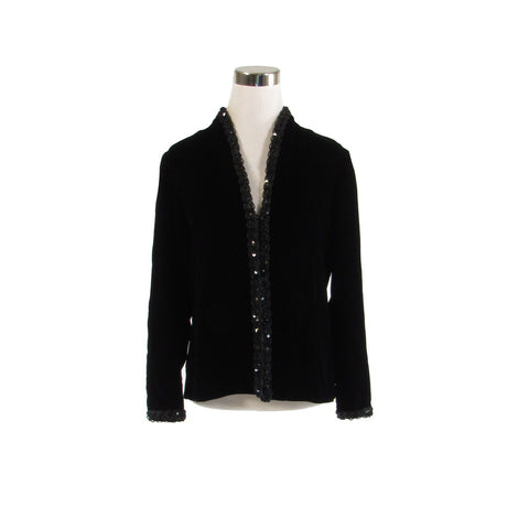 Black velvet I.MAGNIN sequin trim vintage jacket 10 M