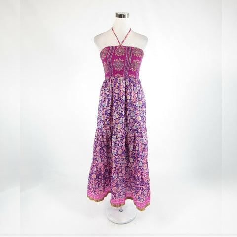 Dark purple floral print 100% silk ANTHROPOLOGIE MAEVE A-line dress S-Newish