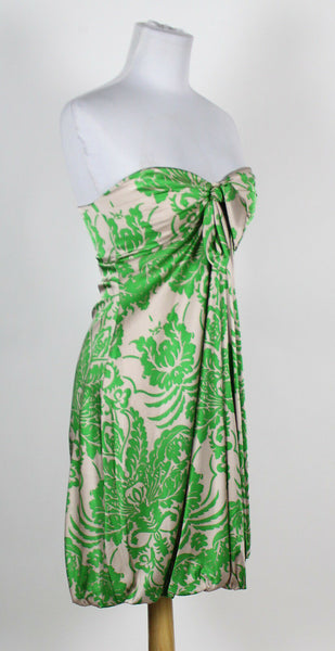 WENDY KATLEN beige green floral silk satin strapless sweetheart bubble dress 2-Newish