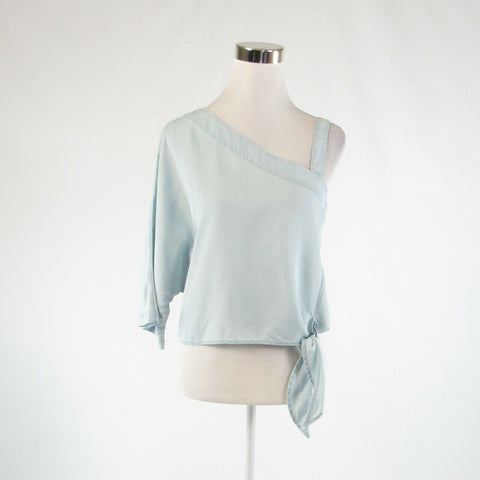Light blue chambray HOLDING HORSES 3/4 batwing sleeve crop top blouse S