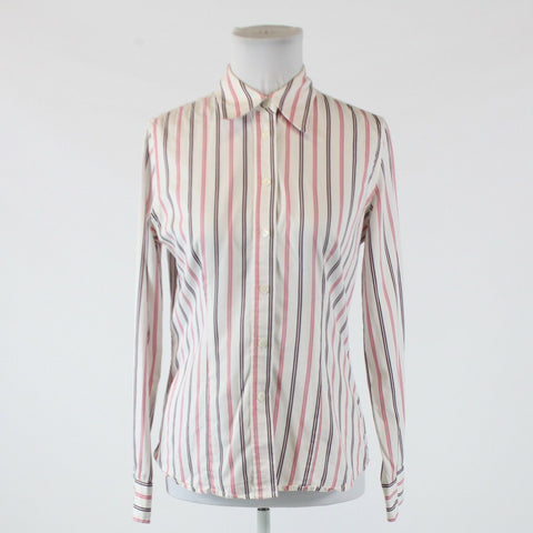 White pink striped 100% cotton JONES NEW YORK long sleeve button down blouse S