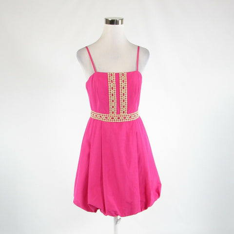 Fuchsia pink beige cotton blend TOMMY HILFIGER spaghetti strap bubble dress 6-Newish