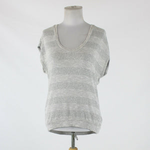 Light gray silver metallic striped rayon SPLENDID sleeveless shimmery sweater S