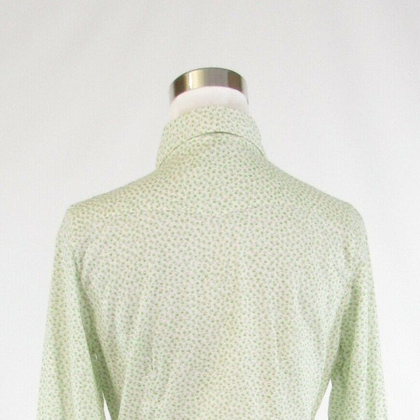 Light green white floral print 100% cotton GAP long sleeve button down blouse S-Newish