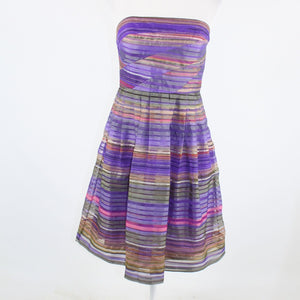 Purple beige striped sheer overlay DONNA MORGAN strapless A-line dress 10