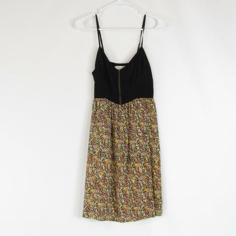 Yellow black abstract 100% silk ANTHROPOLOGIE MOULINETTE SOEURS A-line dress 4