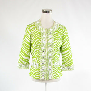 Bright green white zebra THE COLLECTIVE WORKS OF BEREK 2 blazer jacket M-Newish