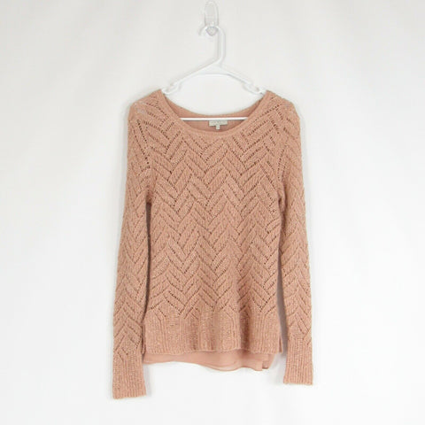 Peach silver LUCKY BRAND long sleeve scoop neck open knit sweater M