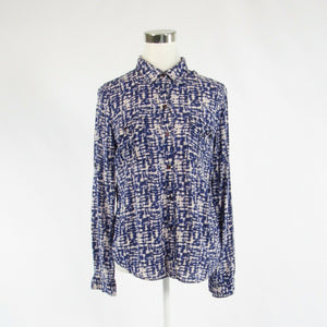 Navy blue white ikat CALVIN KLEIN long sleeve button down blouse S-Newish