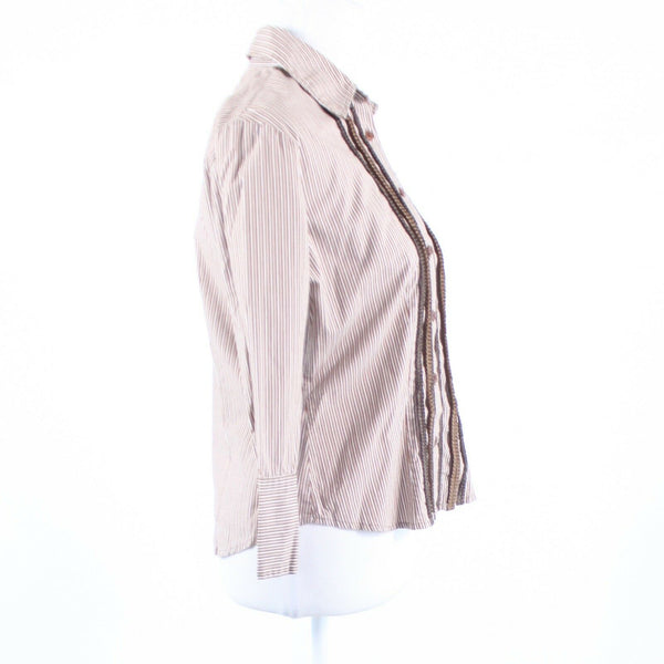 Light brown white pinstripe cotton blend NEW YORK and COMPANY button down blouse M-Newish