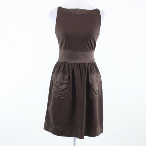 Brown stretch DIANE VON FURSTENBERG sleeveless A-line dress 4