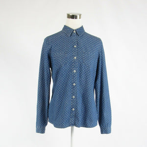 Dark blue polka dot 100% cotton THE LIMITED long sleeve button down blouse M-Newish