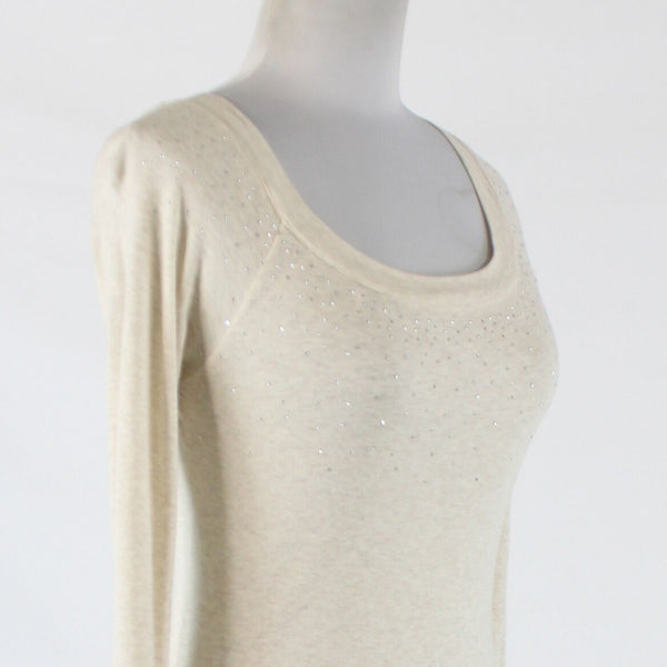 Ivory cotton EXPRESS long sleeve scoop neck rhinestone studded chest blouse M