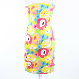 Multicolor floral print cotton blend EMMA TRICOT strapless sheath dress 6-Newish