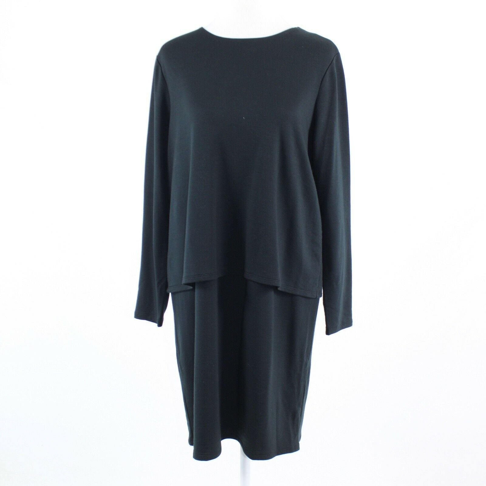 Black stretch PUREJILL long sleeve overlay tunic dress M NWT $99-Newish
