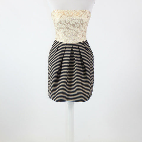 Ivory blue striped skirt RACHEL ROY sequin lace bodice strapless dress 2