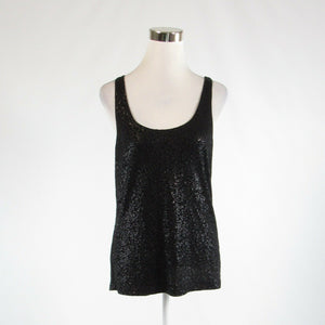 Black TALBOTS sequin stretch sleeveless tank top blouse M