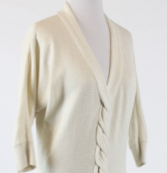 Ivory shimmery NEW YORK and COMPANY batwing sleeve v-neck ribbed trim sweater S