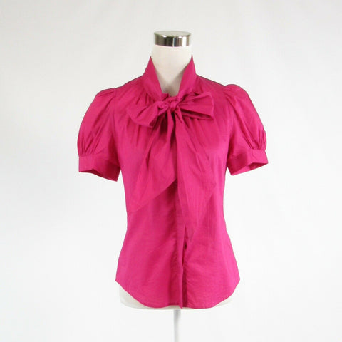 Fuchsia pink 100% cotton FRENCH CONNECTION short sleeve button down blouse 6