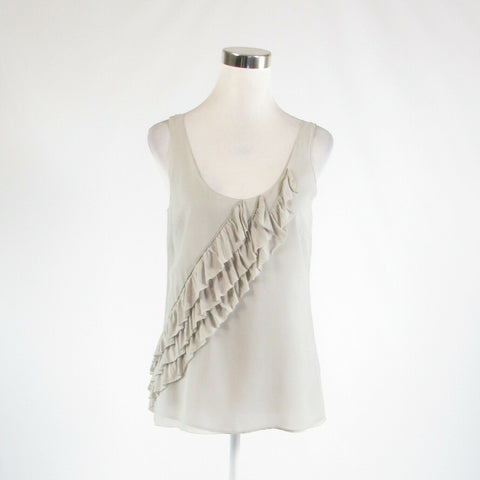 Light gray 100% silk BANANA REPUBLIC sheer overlay sleeveless tank top blouse S