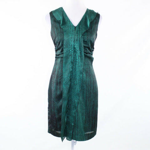 Dark green black snake KENNETH COLE NEW YORK sleeveless sheath dress 4