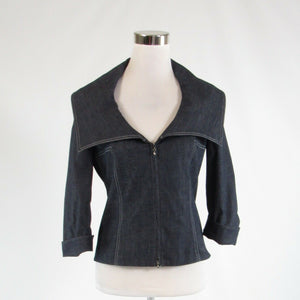 Dark blue denim BILL BLASS NEW YORK stretch 3/4 sleeve blazer jacket 2