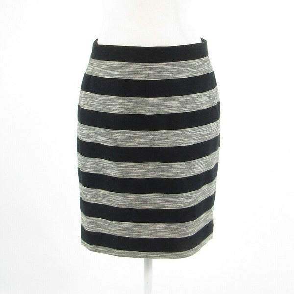 Black ivory striped cotton blend J. CREW The Pencil Skirt pencil skirt 4-Newish
